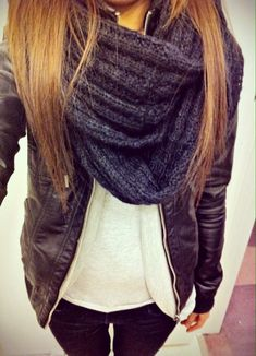 Obsessed with wearing a leather jacket and scarf <3
