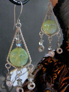 Made to order design!  Sterling Silver EarringsFull Moon FaceCrystal by Lilacmoonjewelry