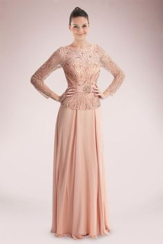 Glorious Long Sleeve Chiffon Mother of Bride Dress Featuring Beaded Bodice cd245d0d8e09