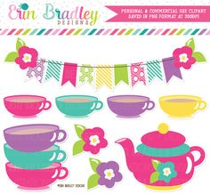Girls Tea Party Clipart – Erin Bradley/Ink Obsession Designs
