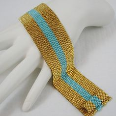 The Stripes Gold and Sea Opal Peyote Cuff Bracelet by SandFibers