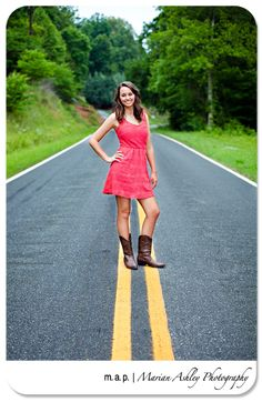 www.marianashleyphoto.com | High School Senior | Coral Dress | Cowboy Boots | Road Signs | Street Photos