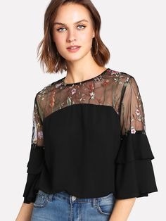 Online shopping for Embroidered Mesh Shoulder Ruffle Sleeve Top from a great selection of women's fashion clothing & more at MakeMeChic. Classy Outfits, Beautiful Outfits, Cool Outfits, Fashion Outfits, Dress Indian Style, African Fashion Dresses, Lace Tops, Ruffle Sleeve, Half Sleeves