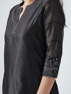Black Aari-embroidered Chanderi Kurta with Slip (Set of Silk Kurti Designs, Salwar Neck Designs, Kurta Neck Design, Neckline Designs, Kurta Designs Women, Dress Neck Designs, Kurti Designs Party Wear, Blouse Designs, Sleeves Designs For Dresses