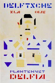 Bart van der Leck  Plantennet Delia 1919, gouache (maquette) 87 x 58.7 Collection Merrill C. Berman. Último de dez designs para uma publicidade sobre salad oil. Nunca executada. Neste cartaz tentou retratar uma figura masculina através de formas geométricas simples, utilizando apenas como cores o preto e primários.