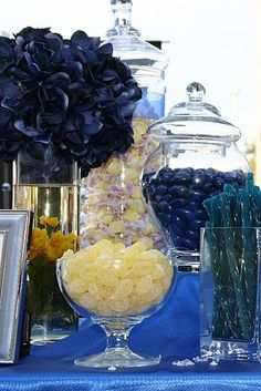 Blue and yellow candy buffet.
