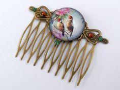 Edler Frühlings Haarkamm in antik bronze mit Vogel von Schmucktruhe