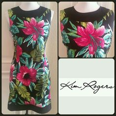"""Kim Rogers Black Floral Dress Pretty Floral Dress by Kim Rogers. Black with vibrant raspberry pink flowers with teal and green leaves. Measures approximately 34"""" around from armpit area, will stretch about 2 more inches. Length 35"""". 21"""" Hidden back zipper. NWOT. Beautiful in person. Dress has been professionally Dry Cleaned  Kim Rogers Dresses Midi"""