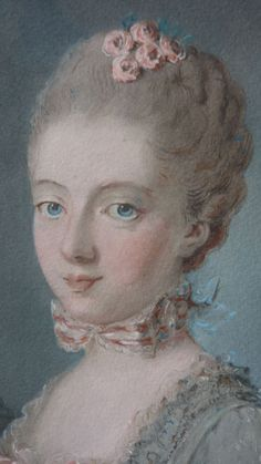 Enchanting French engraving young Marie Antoinette ribbon bows roses