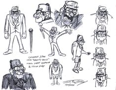 Here's my model sheet exercise/design study for Grunkle Stan from GRAVITY FALLS, drawn on October Much like Wendy, I had little to work with. Cartoon Posters, Cartoon Drawings, Character Sheet, Character Art, Dipper And Mabel, Walt Disney Pictures, Character Design References, Disney Cartoons, Gravity Falls