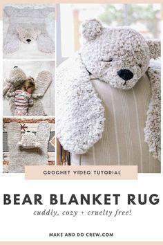 Crochet Bebe, Crochet Gifts, Crochet For Kids, Diy Crochet, Bear Blanket, Bear Rug, Baby Blanket Crochet, Crochet Toys Patterns, Crochet Stitches