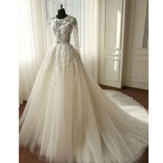 Charming Long Sleeves Tulle Applique Affordable Long Wedding Dresses, WG1246