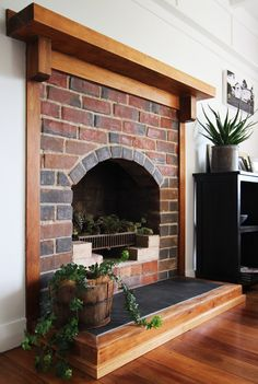 Brick fireplace stripped back to original finish. Bungalow Renovation, New Builds, Renovations, Interior Styling, Beautiful Homes, Interior Design, Brick Fireplace, Home Decor, Fireplace