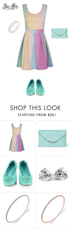 """""""Summer Color"""" by debebians ❤ liked on Polyvore featuring VC Signature, Tory Burch, colorful, dresses, tiffany blue and diamonds"""