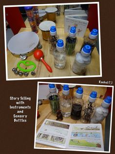 "We're Going on a Bear Hunt Story Telling with Instruments and Sensory Bottles from Rachel ("",) Nursery Activities, Sensory Activities, Sensory Play, Book Activities, Baby Sensory, Indoor Activities, Story Sack, Preschool Literacy, Kindergarten Music"