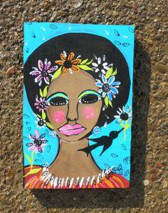SOUL SISTER & CROW BLACK folk painting Original Folk ART 6 x 9 wood