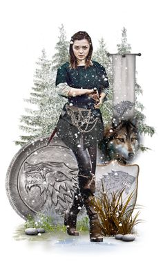 """""""The Blind Wolf"""" by girlinthebigbox ❤ liked on Polyvore featuring art, GameOfThrones, got and AryaStark"""