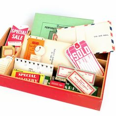 Instant Collection of Vintage Office Supplies - Dennison Labels, Airmail Envelopes, Tray, and More