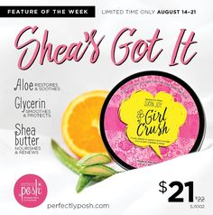 Feature of the week, Girl Crush, one of the new body butters.   Nourish your body with this thick creamy body butter that has a nice fresh citrus scent. https://Heatherartis.po.sh/girl-crush-body-butter #posh #perfectlyposh #moisturizes #sheabutter #apricot #orange