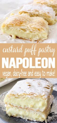 dessert recipes Easy vegan custard puff pastry Napoleon made with rich coconut and cashew milk, vanilla extract and thickened up with tapioca. Dairy-free and naturally sweetened with maple syrup. Desserts Sains, Köstliche Desserts, Vegan Dessert Recipes, Vegan Sweets, Baking Recipes, Health Desserts, Healthy Recipes, Custard Desserts, Food Deserts