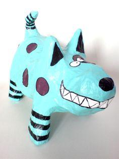 Funky and unusual, handmade papier mache dog.