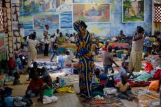 Dec. 7 2013. Internally displaced people gather in the Don Bosco Center outside Bangui, Central African Republic.