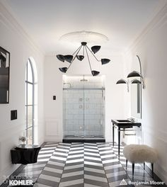 6 Looks from A Curation of Color & Design Presented by Kohler & Benjamin Moore Chevron Bathroom, Chevron Tile, Herringbone Tile, Neutral Bathroom, Framed Shower Door, Shower Doors, Benjamin Moore, Glass Corner Shower, Colored Ceiling