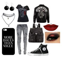 """Sons Of Anarchy"" by jdrummo on Polyvore featuring Balmain, Converse, Karen Kane, Wet Seal, Casetify, Proenza Schouler and Anastasia Beverly Hills"