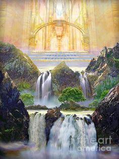 Painting of vision of the River Of Life flowing from God's Throne Room on the Lord's Holy Hill in Heaven ❤️ Jesus is coming again, soon! Fantasy Landscape, Fantasy Art, Heaven Painting, Jesus Christus, Throne Room, Prophetic Art, Biblical Art, Bible Art, Christian Art