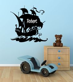 Pirate Ship Custom Name Vinyl Wall Decal Sticker - Decor Designs Decals Name Wall Decals, Nursery Wall Decals, Wall Decal Sticker, Wall Stickers, Nursery Decor, Pirate Nursery, Pirate Bedroom, Boys Room Decor, Kids Room