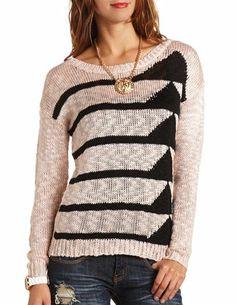 Geo Print Slub Pullover Sweater: Charlotte Russe