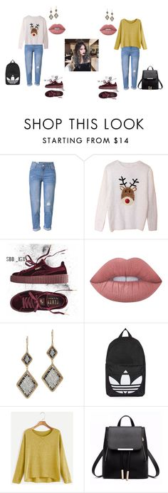"""""""First Page Outfits 7"""" by destinee-miller15 on Polyvore featuring WithChic, Puma, Lime Crime, Dana Kellin and Topshop"""
