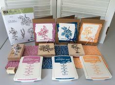 """Drie kaarten gemaakt met de stempelset """"Fabulous Flora"""" van Stampin' Up!, gestempeld met de nieuwste kleuren inkt: In Colors 2016-201..."""