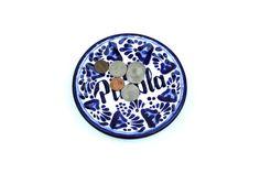 Blue White Talavera Plate, Colorful Mexican Ceramic Dish, Puebla Mexico Pottery