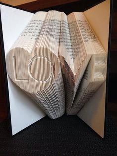 """Book folding pattern for """"Love with heart"""" ~ +Free tutorial by BookFoldingForever on Etsy"""