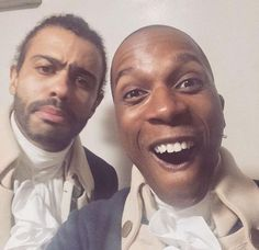 """Diggs looks like the grandfather who doesn't kno what's going on or how to pose when the grandmother Leslie is trying a new thing called a """"selfie""""<<<Leslie is the five year old grandson Cast Of Hamilton, Hamilton Broadway, Hamilton Musical, Hamilton Wallpaper, Leslie Odom, Daveed Diggs, Anthony Ramos, Hamilton Lin Manuel Miranda, Hamilton Fanart"""