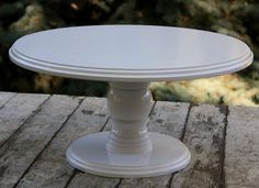 White wood wedding cake stand Wooden cake stand  by WoodenShopCo
