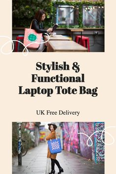 """The tote bag is designed to hold all your daily essentials including a laptop up to 15"""". UK Free delivery. #totebag #laptopbag #giftforher Laptop Tote Bag, Bags Uk, Free Delivery, Essentials, Gift Ideas, Stylish, Creative, Leather, Gifts"""