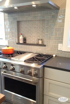 Modern Kitchen Decorative Niche Above the Oven with Handmade Subway Tile Backsplash - Modern vintage handmade tile for classic kitchens and bathrooms. Eco-friendly and handcrafted by artisans in our Colorado studio. Kitchen Tiles, New Kitchen, Kitchen Decor, Kitchen Cabinets, Country Kitchen, 10x10 Kitchen, Kitchen With Subway Tile, 1970s Kitchen, Condo Kitchen