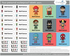 Superheroes - Your personal waterproof labels (68 Qty) Free Shipping
