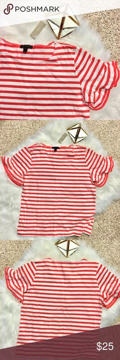J CREW Ruffle Sleeve Striped Tee Cute French twist on a classic striped tee. Pair with some dark skinny jeans or a swingy skirt and you're out the door!  Smoke-free pet-free home. Offers welcome! Bundle with other items from my closet for the best deal! J. Crew Tops