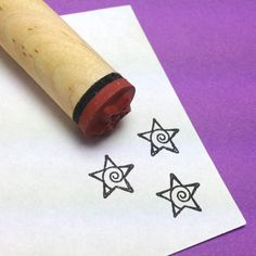 Spiral Star Rubber Stamp by RADstamps on Etsy