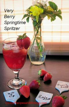 Very Berry Springtime Spritzer #SundaySupper Fresh strawberries, sweet red wine, raspberry Liqueur and a bit of bubbles to welcome spring!