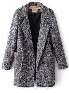 Grey Notch Lapel Long Sleeve Pockets Trench Coat