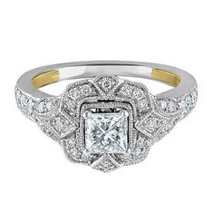 TRULY™ Zac Posen 1 ct. tw. Diamond Halo Engagement Ring in 14K Gold available at #HelzbergDiamonds