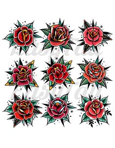 Traditional Rose Temporary Tattoos Rose Tattoos Temporary Rose Tattoos Red Rose Tattoos Watercolour Temporary Tattoos - These temporary Traditional Rose tattoos are printed in gorgeous bright colours. With bold lines th -
