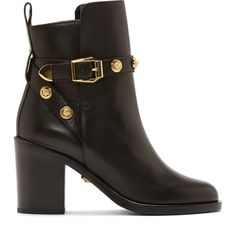 Versace Black Leather Logo Studded Ankle Boots