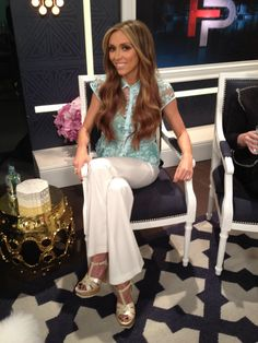 What Giuliana Rancic wore on April 21. TOP: Nanette Lepore Nanette Lepore  PANTS: BCBG - BCBGMAXAZRIA  RING: Kendra Scott Jewelry  SHOES: Yves Saint Laurent