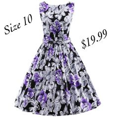 """This is a beautiful brand new vintage inspired look swing dress. Made of a cotton blend, is a one piece dress, has a back zipper, has a belted waist,a floral design and a rounded neck line.    Available in US size 10    Has the following measurements:    Medium: US 10,Bust Range 33.5"""" - 37,0"""", Waist 27.5"""" - 31.5"""", Dress Length 39.4""""    This item ships immediately to US addresses. 📦    Also available for local try on and pick up in Sacramento, CA. ✨ 