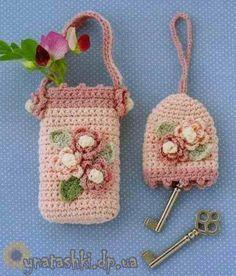 Crochet Knitting Handicraft: Etui for mobile and key Crochet Key Cover, Crochet Phone Cover, Crochet Home, Crochet Gifts, Irish Crochet, Crochet Keychain, Crochet Earrings, Pochette Portable, Crochet Stitches